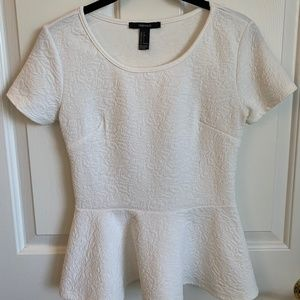 Forever 21 Short Sleeve Ivory Peplum Top - Size S